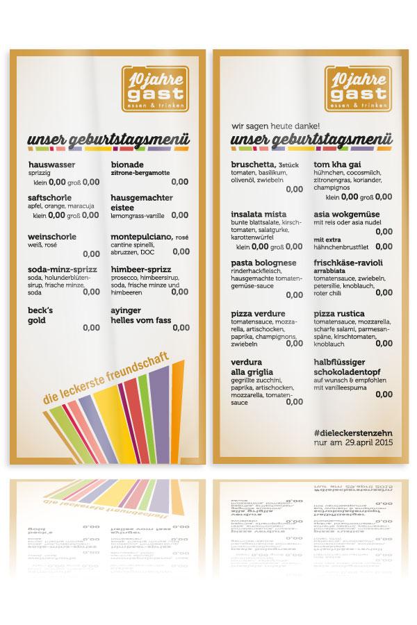 PLUTO & suns Speisekarte10 Jahre gast für Restaurant gast