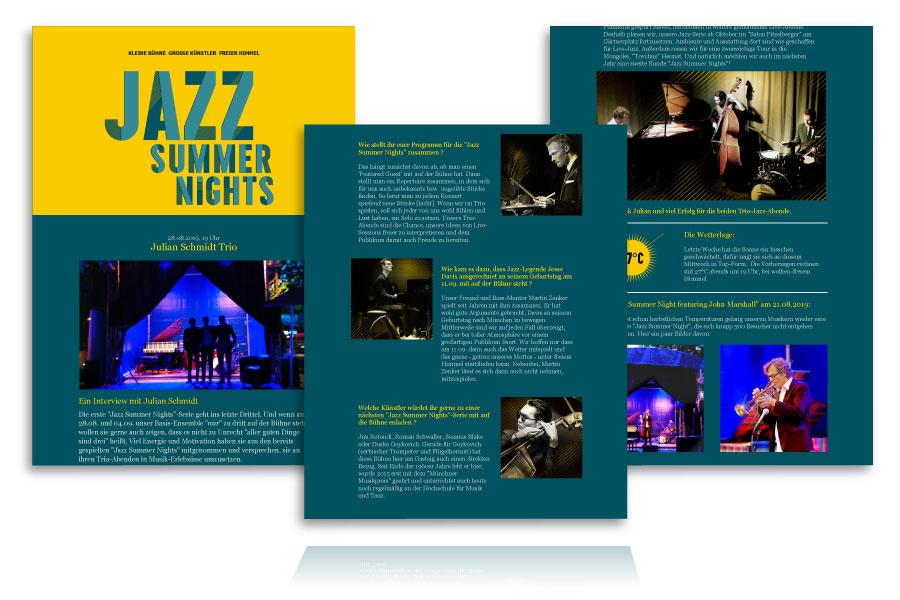 PLUTO & suns Newsletter für Jazz Summer Nights