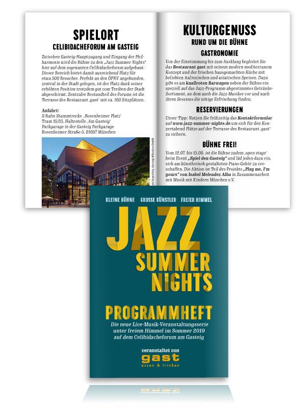 PLUTO & suns Programmheft für Jazz Summer Nights