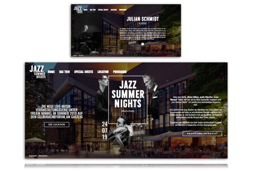 The Design by Rebecca Doll Website für Jazz Summer Nights