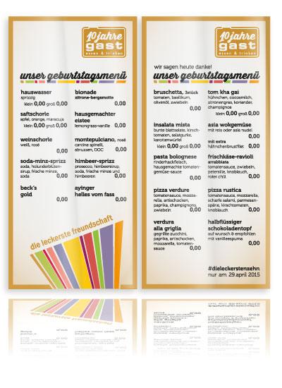 PLUTO & suns Speisekarte 10 Jahre gast für Restaurant gast