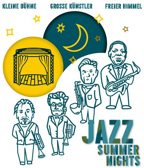PLUTO & suns Grafik Collage des Jazz Summer Nights Claim